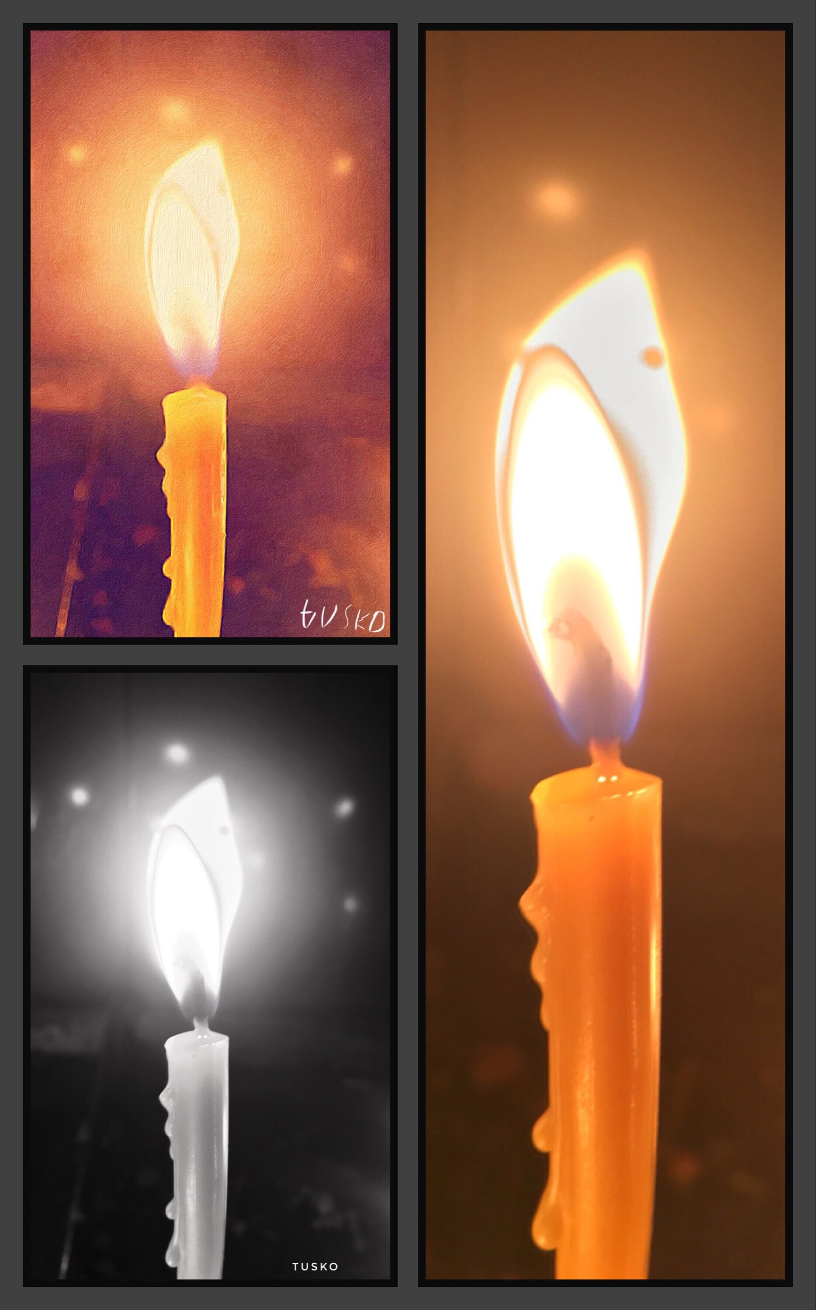 illuminated, lighting equipment, glowing, indoors, auto post production filter, candle, close-up, reflection, burning, flame, fire - natural phenomenon, tea light, electric light, multi colored, lit, collage, candlelight