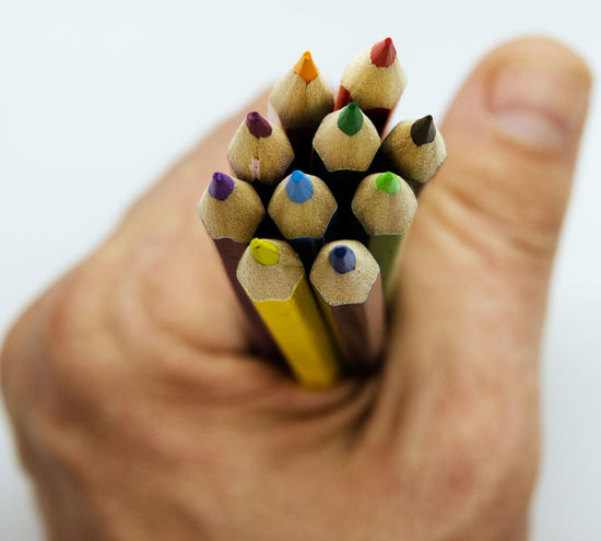 colour pencils. Brown Skinned Beauty Office Paint Wood Art And Craft Arts Culture And Entertainment Blue Close-up Colored Pencil Colorful Conceptual Photography  Crayon Creativity Desıgn Drawing - Art Product Education Indoors  Multi Colored Object Packaging Rainbow School Studio Shot White Background Writing Instrument