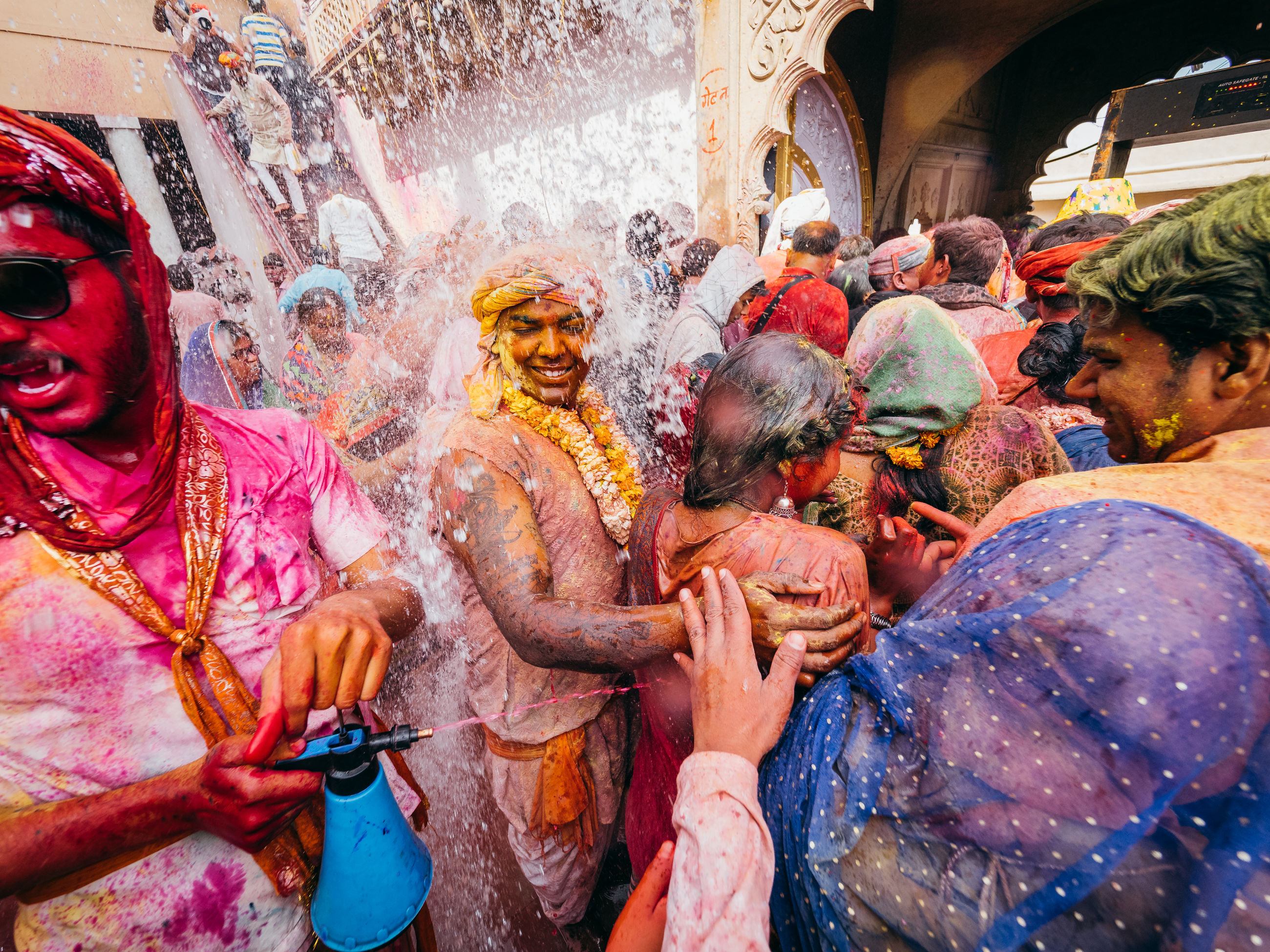 religion, belief, group of people, traditional festival, holi, men, multi colored, traditional clothing, spirituality, celebration, day, happiness, adult, real people, architecture