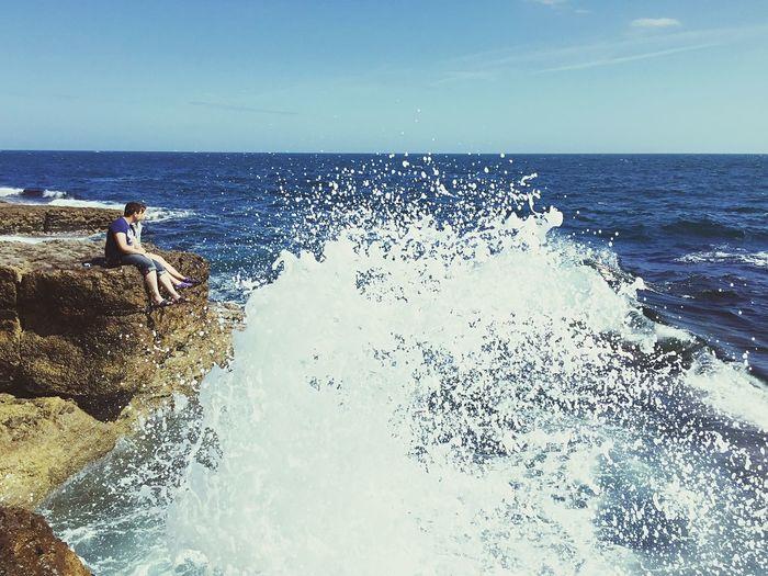 Sea Waves Crashing Life Is A Beach Blue Sky Summer Relaxing The Big Blue Cliffs