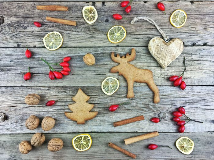 High angle view of food on wooden table during christmas
