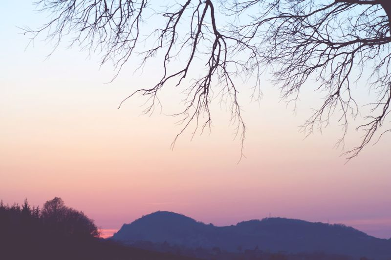 Sunset Scenics Beauty In Nature Nature Tranquility Tranquil Scene Mountain Sky Idyllic No People Outdoors Mountain Range Tree Day Millennial Pink Salsomaggiore Terme Pink Pink Color