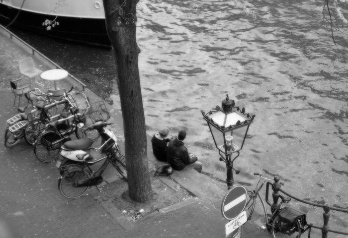 Black And White Boat Bycicle Couple High Angle View Monochrome Outdoors Streetlamp Streetphotography Town Canal Transportation Tree Water