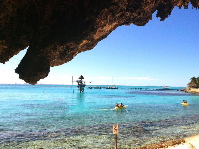 Vista a Garrafón Park de Sur a Norte. Isla Mujeres Turismo Quintana Roo Caribe Mexicano.