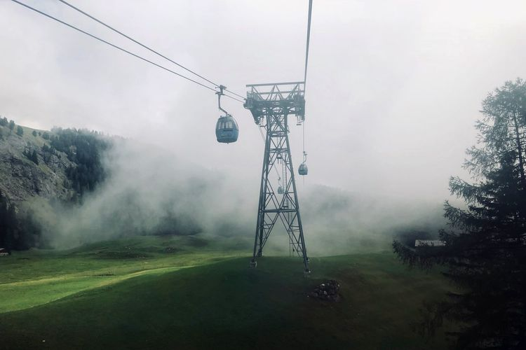 Low angle cable car in foggy weather