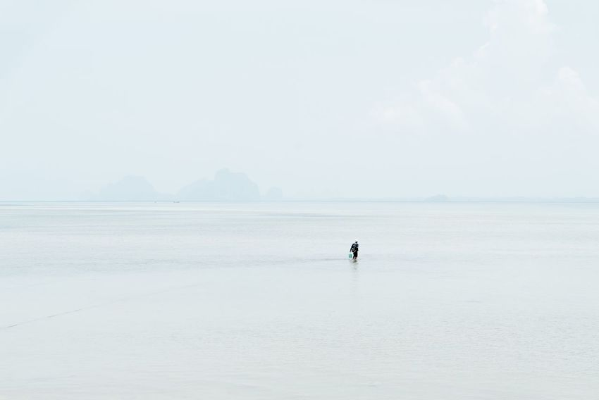 Sea One Person Men Real People Clear Sky Nature Scenics Water Outdoors One Man Only (null)Horizon Over Water Sky Beauty In Nature Adult Travel Travel Destinations Tranquility Thai Thailand