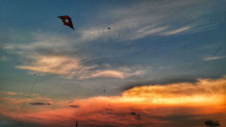 Flying Red Sky Sunset Cloud - Sky Mid-air Parachute Multi Colored No People CALI COLOMBIA Valle Del Cauca Travel Destinations
