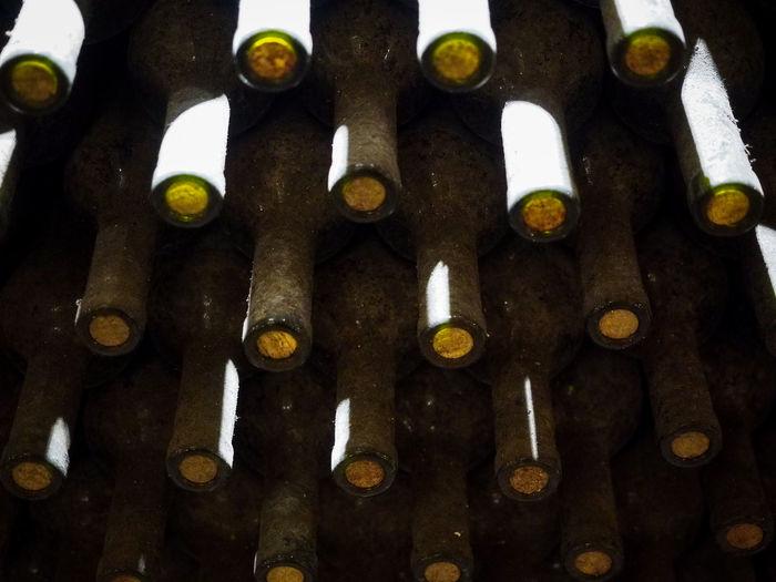 Full frame shot of old bottles