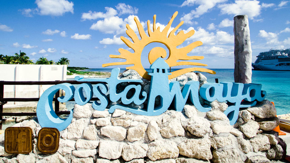 Costa Maya, Mexico Costa Maya, Mexico Mexico Signage Cloud - Sky Costa Maya Cruise Port Day No People Outdoors Rock - Object Sky Water