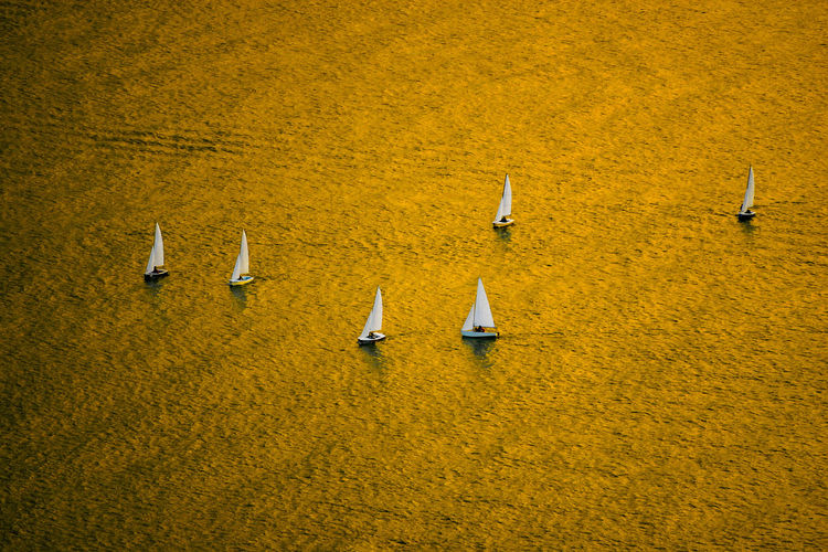 Aerial view of sailboats on sea