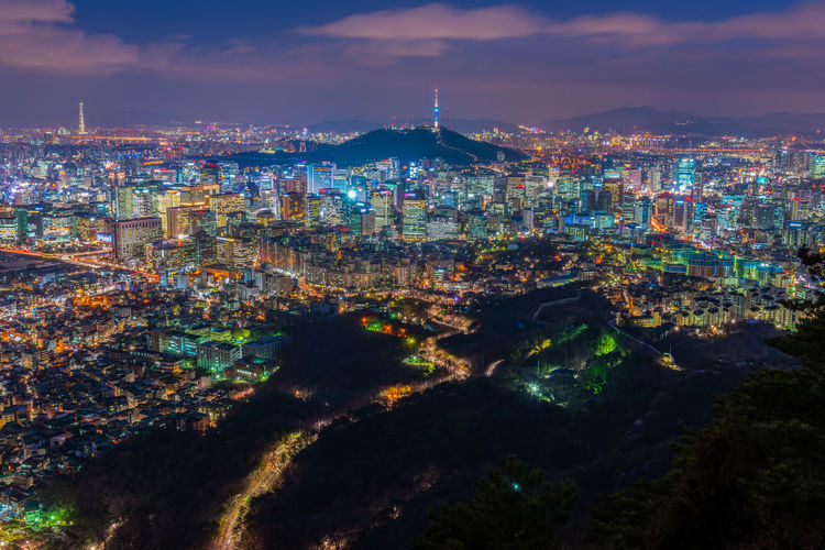 Illuminated seoul cityscape