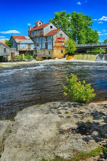 Bridge Chisholm Mills Day Daytime Falls Hanging Out Hdr_Collection Lumber Mill Mid Day No People Old Building  Ontario Outdoors River Roslin Water Water Falls
