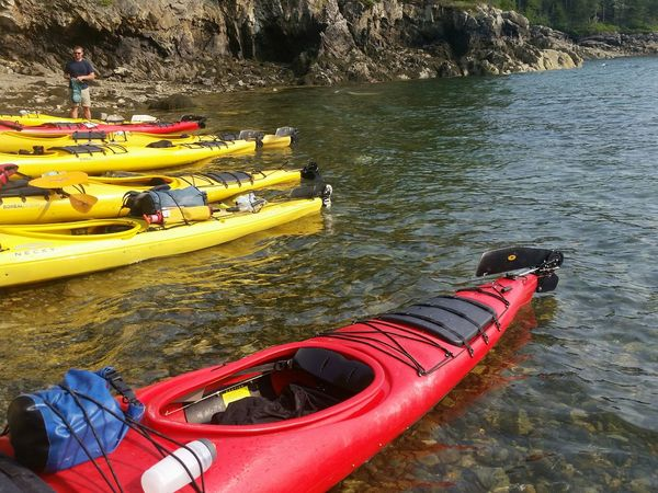 Kayaking Sea Kayak Exploring Coastal Maine Stand Out Yellow Red