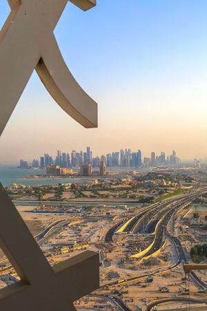 EyeEm Selects Cityscape Architecture Built Structure City Building Exterior Skyscraper Travel Destinations Clear Sky Sky Urban Skyline Outdoors No People Transportation Day Modern The Week On EyeEm Doha Qatar Doha Skyline