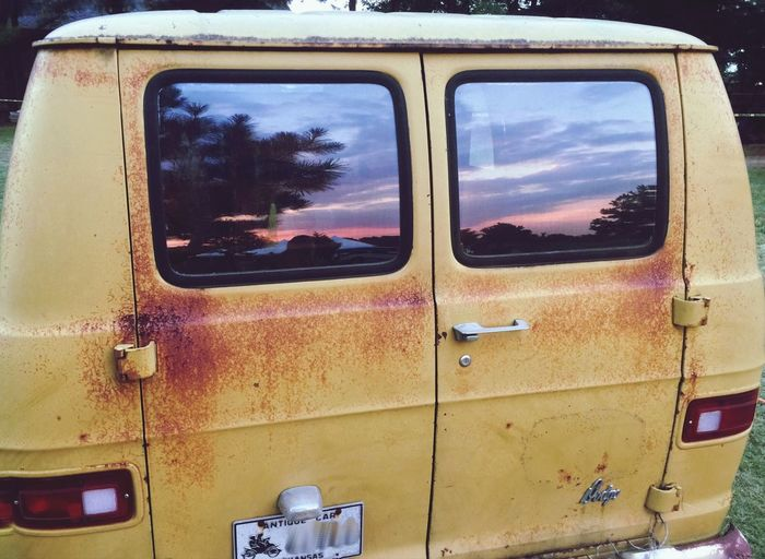 Antique Van Life Yellow Sunset Reflection
