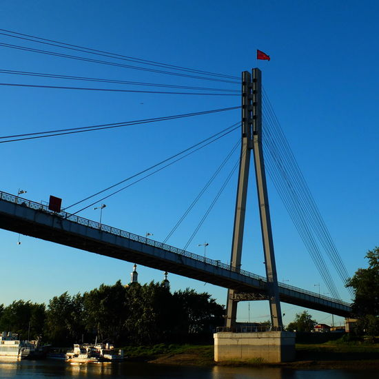 Blue Bridge Built Structure Clear Sky Engineering Nature River Russia Sky Tourism Tyumen' Water