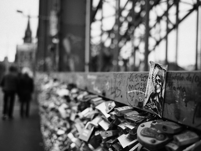 Cologne , Köln,  Architecture Blackandwhite Built Structure Close-up Day Focus On Foreground Love Lock Metal No People Outdoors Streetphotography The Street Photographer - 2018 EyeEm Awards