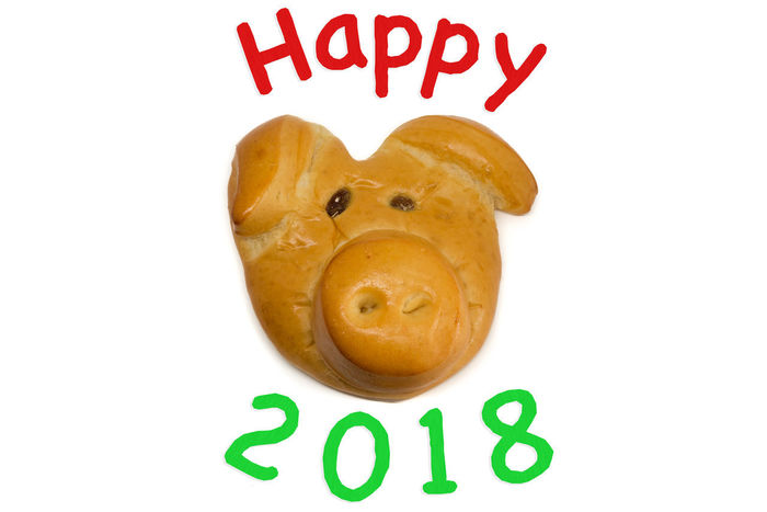 Close-up Communication Cookie Food Food And Drink Freshness Happy 2018 Happy New Year Happy New Year 2018 Lucky Pig No People Ready-to-eat Studio Shot Sweet Food Text Western Script White Background White Background,