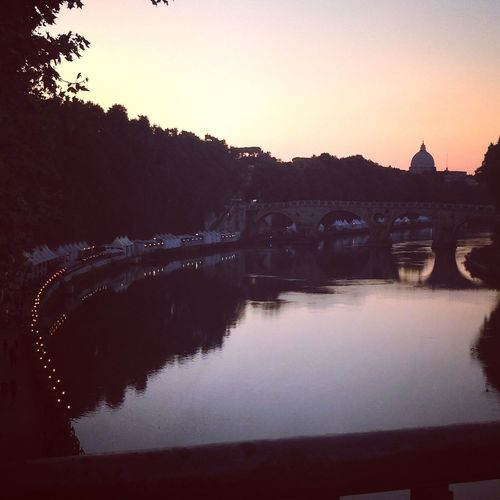 Tevere Tiber River Italy Rome Reflection Water Sunset River No People Architecture Tree Tranquil Scene Clear Sky Beauty In Nature Tranquility City Sky Outdoors
