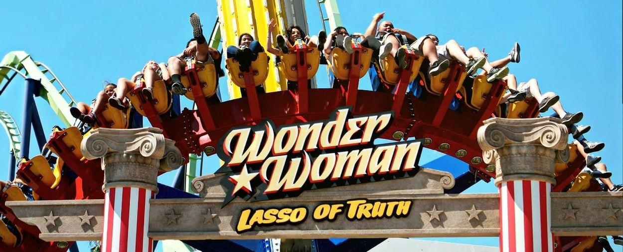 Text Arts Culture And Entertainment Day Sky Outdoors Amusement Park Amusement Park Ride Wonder Woman