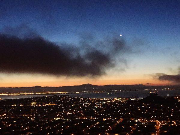 Morning sunrise out my window San Francisco Bay