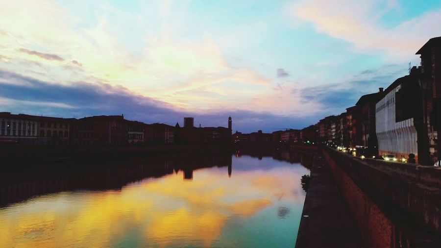Sunset Reflection Landscape Water Cityscape Travel Destinations Toscana Italia Sunset Lungarno Fiume Fiumearno Arno  Arnoriver Reflection Landscape Water Horizontal Cityscape Travel Destinations City Beauty Vacations Bridge - Man Made Structure Outdoors First Eyeem Photo