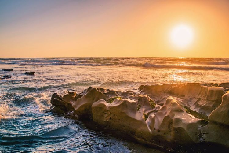 Tide Pools Wave Sea Water Sunset Beach Sand Sunlight Sun Rock - Object Summer Surf Seascape Rocky Coastline Coastal Feature Coastline Coast Horizon Over Water Summer Exploratorium My Best Photo