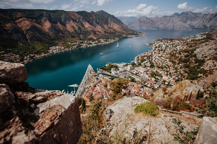 Kotor, Montenegro Water Beauty In Nature Day Nature Mountain Scenics - Nature Lake Tranquil Scene Mountain Range Tranquility Sky Non-urban Scene No People Rock High Angle View Idyllic Rock - Object Environment Outdoors
