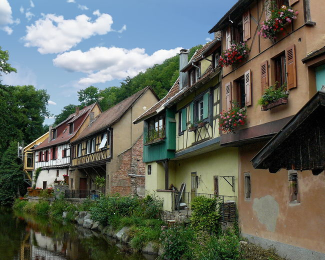 Residential buildings in Kaysersberg - Haut-Rhin, France France Haut-Rhin Kaysersberg Architecture Building Exterior Built Structure Day House No People Outdoors Plant Sky Tree Window