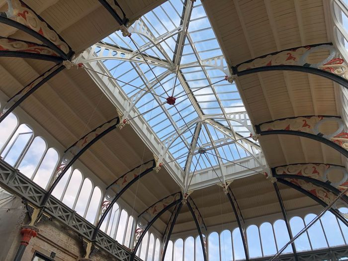 Market Hall Restored Glass And Ironwork Ceiling EyeEm Selects Architecture Built Structure Low Angle View Day Sky Building Exterior No People Ceiling City Building Travel Destinations Pattern History Decoration Glass - Material Sunlight