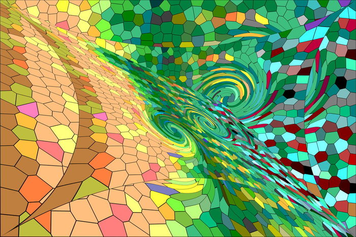 An abstracted work from an image of a white shirt. Stained Glass Abstract Art Blue Colorful Design Green Green Hexagons Multi Colored No People Orange Pattern Polygons Red Repetition Whirls Whorls