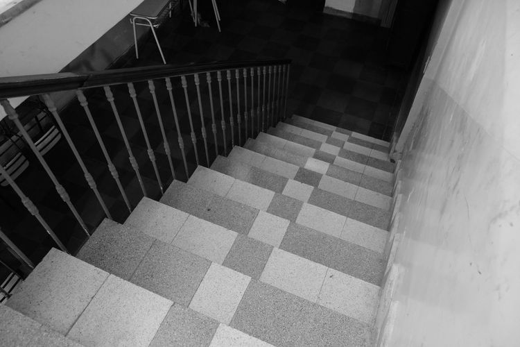 Abandoned Architecture Blackandwhite Dark Grunge High Angle View Indoors  No People School Shadows Staircase Stairs Steps Steps And Staircases