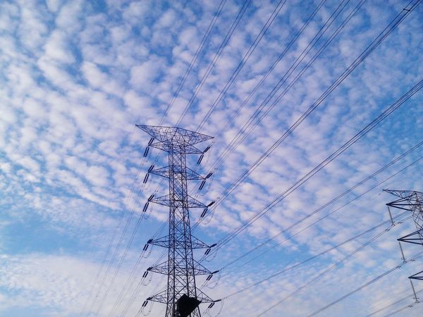 Sky Clouds And Sky Electric Tower  Natural Colours View From Below Outdoors Sunshine Day Daylight Natural Light Scene Cloud Pattern Work Electricity  Electric Wire Electricity Tower Electricity Pylon Electric Pole Electric Lines Electricity Cable Cable Line Electricity Supply Electric Power Telegram Line Art Electrician