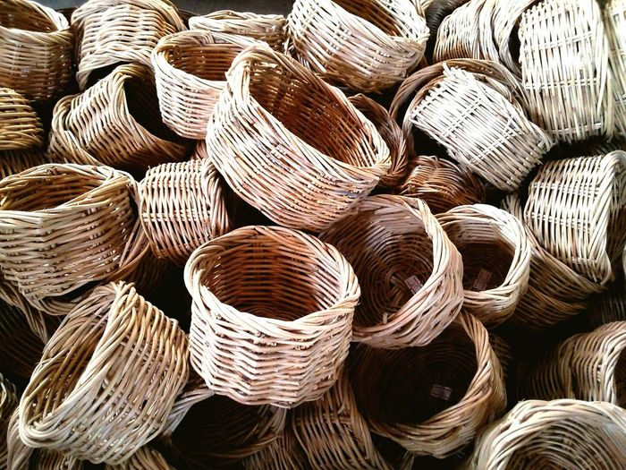 Directly Above Shot Of Wicker Baskets On Floor