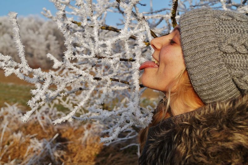 Close-Up Of Woman In Winter