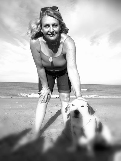 Beach Sand Sea Happiness One Person Water People Summer Outdoors Blackandwhite Photography Huawei P9 Leica Hauweip9 One Woman Only Beach Photography Sandwichbay
