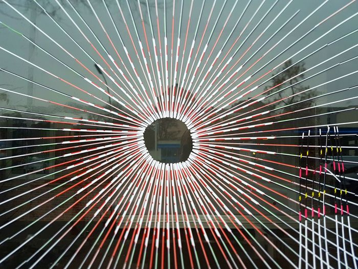 Circle Close-up Fantasy Low Angle View No People Outdoors Rays Rays Of Light Reflection Shop Window