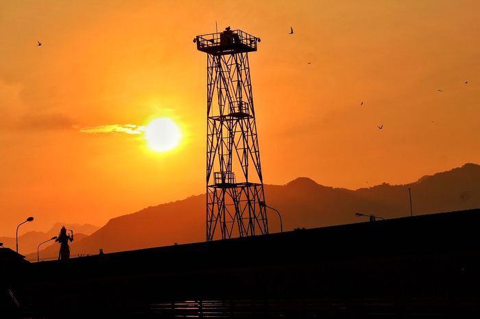 Silhouette Sunset Orange Color Business Finance And Industry Built Structure Sky Architecture Travel Destinations Outdoors No People Nature Day Drilling Rig Oil Pump Black Background Close-up Factory Industry Nature Skill  Stereo
