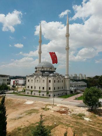 Mosque Minarets Flag Turkishflag Moonstar Redwhite Taking Photos Enjoying Life Hello World