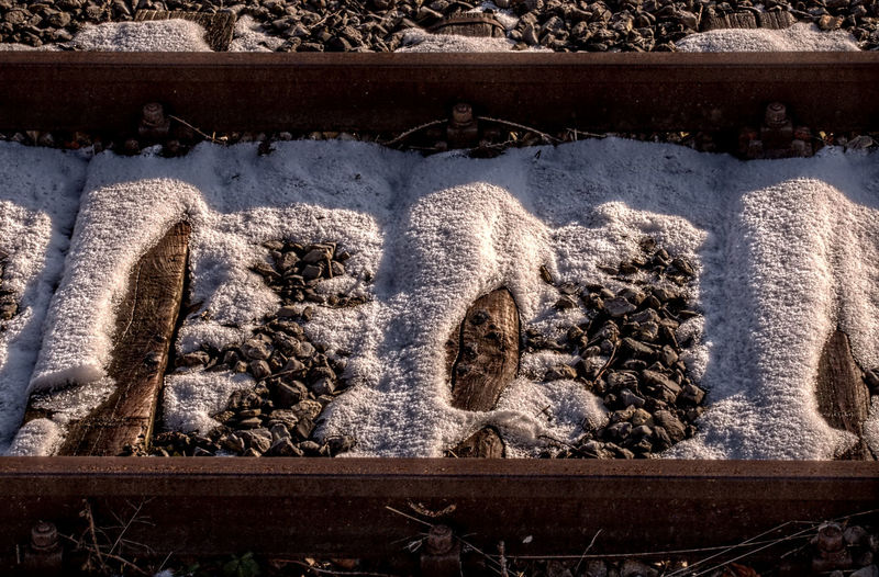 Ballast Bed Close-up Coverd Details Ground HDR Iron Metallic Nikon No People Outdoors Part Of Railway Railway Track Showcase: February Snow Technical Timber White