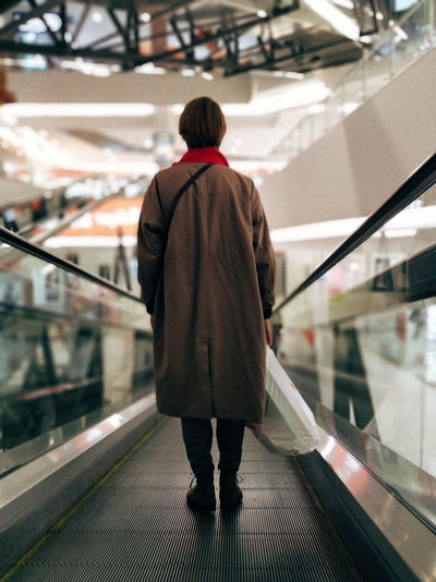 Shopping Mall Shopping ♡ Mall City Women Standing Rear View Walking Subway Platform