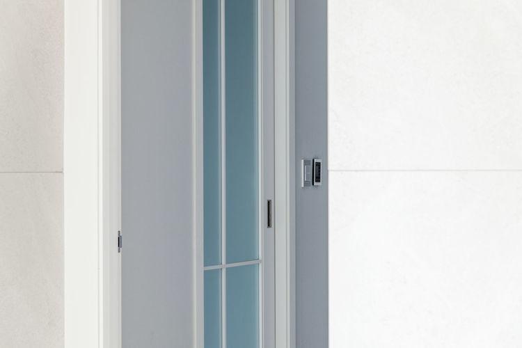 White door of building