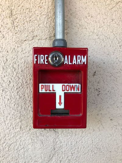 Pull down! Red Wall - Building Feature Fire Alarm Communication Accidents And Disasters Protection Emergency Equipment Safety Close-up