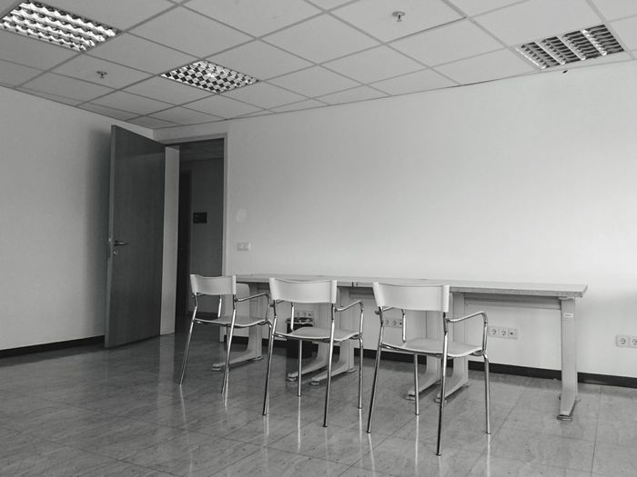 "During the time of the exams, these ""study rooms"" are very hard to find like this, empty. Every chair has its own story of being studied upon, maybe even walls can tell you who studied and who wasted the time. Indoors  Chair No People Table Architecture Day XperiaZ5 XPERIA Close-up Study Study Room Studying Chill Out Exams Finals Door Floor The Photojournalist - 2017 EyeEm Awards"