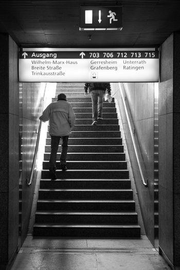 U-Bahn, Duesseldorf, Germany Black & White Black And White Blackandwhite Blackandwhite Photography Deutschland Duesseldorf Germany NRW Sign Stairs Steps Subway SW Treppen Up