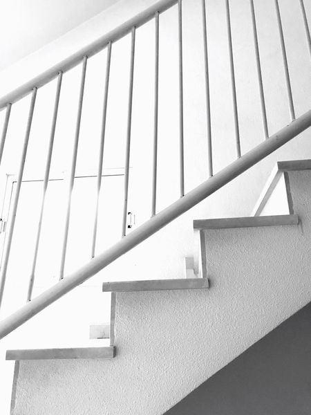 Staircase Steps And Staircases Railing Steps Architecture Built Structure Low Angle View No People Indoors  Close-up Day Hand Rail Escaleras The Week On EyeEm Black And White Friday