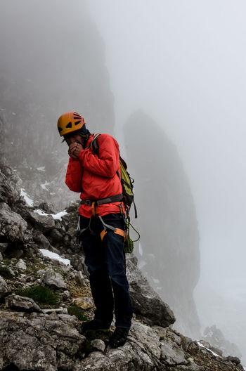 Alpinism Climber Climbing Cold Temperature Fog Freezing Kopftörl Kopftörlgrat Mountain Snow Wilder Kaiser Kaisergebirge Ellmauer Halt Climbing A Mountain