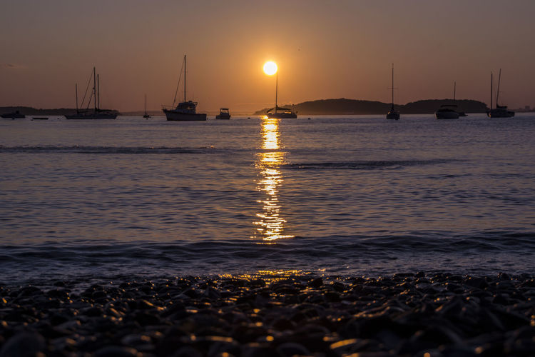 Sunset Beach Sea Tranquility Landscape Water Reflection Travel Destinations Outdoors Pier No People Horizon Over Water Tourism Travel Business Finance And Industry Nautical Vessel Sun Tranquil Scene Vacations Sand EyeEmNewHere Massachussets Boston Hull, Massachusetts