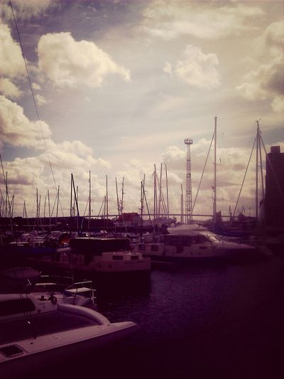 Harbour Clouds And Sky Stralsund  Sepia