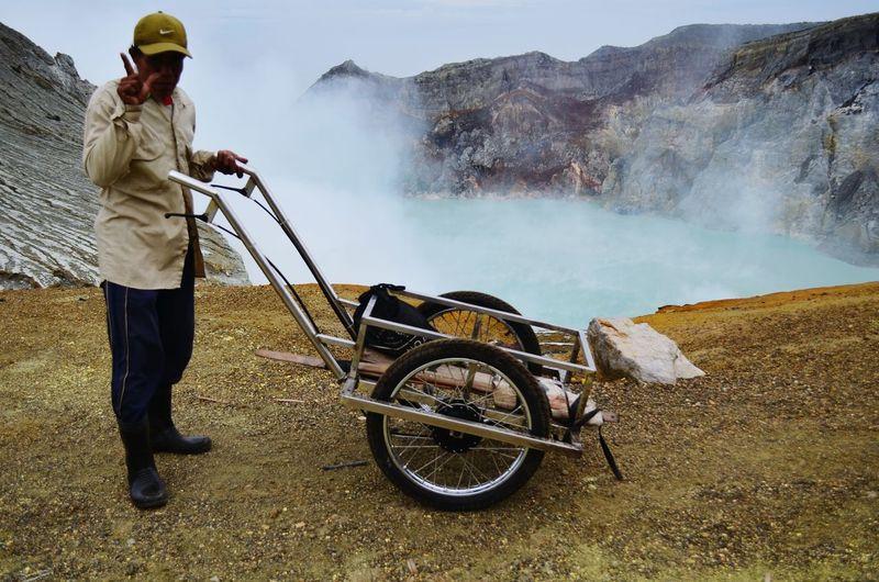 Sulphur miner in the Ijen crater Sulphur Mining Ijen Ijen Crater Kawah Ijen INDONESIA Backpacking
